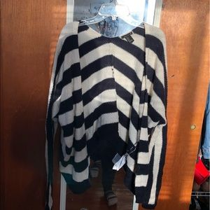 forever 21 blue and white striped batwing cardigan